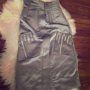 Silver rhinestone silk midi skirt